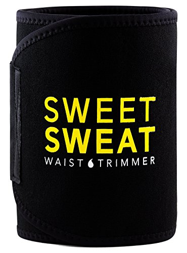 Sweet Sweat Premium Waist Trimmer (Yellow Logo) for Men & Women. Includes Free Sample of Sweet Sweat Gel! (Med: 8' Width x 41' Length)