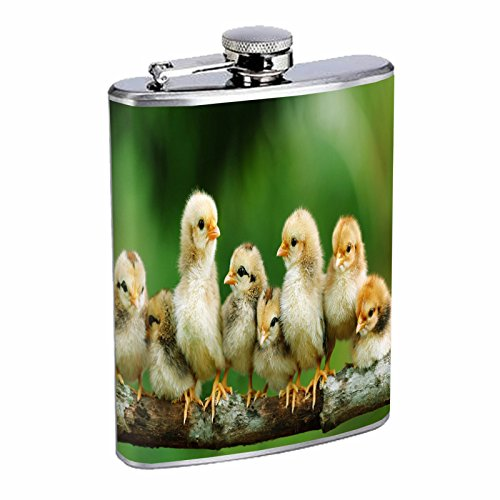 Chicken Flask D6 8oz Stainless Steel Cute Fluffy Adorable Baby Chicks Easter