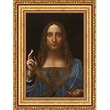 Leonardo da Vinci Salvator Mundi Framed Canvas Giclee Print - Finished Size (W) 21.1'' x (H) 28.1'' [Gold] (V03-17K-MD535-01)