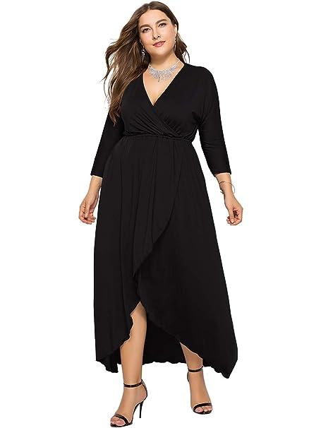 egosopp Women Long Sleeve Maxi Dress Plus Size V-Neck Wrap ...