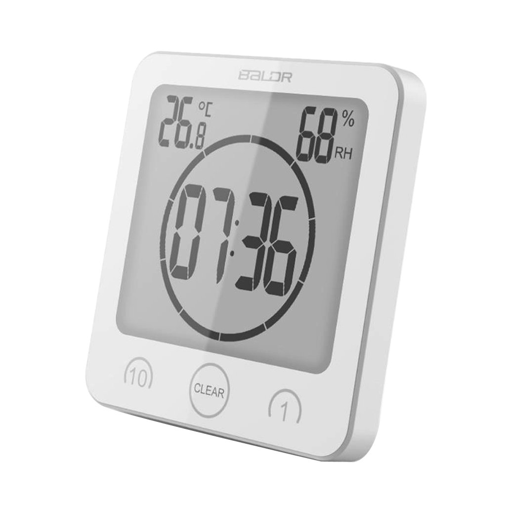 EA-STONE Large LED Digital Hygrometer Indoor Thermometer Humidity Monitor with Timer Clock Shower Clock,4.53'' (White)