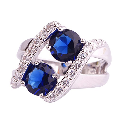 Psiroy Created Blue Sapphire Split Shank Swirl Wide Band Ring for Women