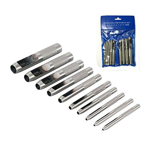 Delidraw 10 Unids//Set Punch Hollow Set Agujero 1-10mm Craft Puncher Belt Leathercraft Punch Herramientas de Cuero