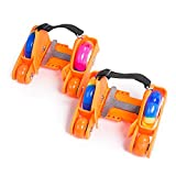 U.Buy Kids Upgraded 4 Wheels Adjustable Flashing Heel Skates Hot Wheels Skating Shoes Easy-On Roller Skates (Orange)