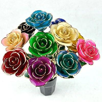 ZJchao Gold Rose Love Forever Long Stem Dipped 24k Rose Foil Trim,Gifts for Her