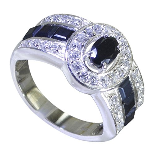 Jewelryonclick Genuine Black Onyx Sterling Silver Wedding Rings For Women Gift Size 5,6,7,8,9,10,11,12 ()