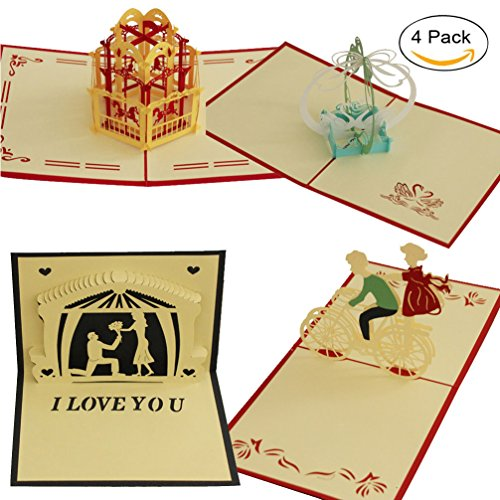 Bicycle Birthday Card (4 Pcs Pop Up Card 3D Paper Craft Greeting Cards I Love You Swan Couples Love Bicycle Bird Merry-Go-Round- Romantics, Girlfriends, Sweetheart, Wife - Birthday, Anniversary Gift Invitation Card)