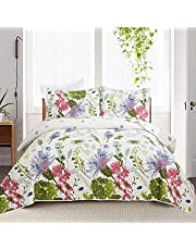 """Yc 3-Piece Floral Bedspread Set Blue Cornflowers Quilt Purple Floral Coverlets Reversible KING Size (96""""x108"""") Lightweight Green Leaves Coverlet Girls Bedspreads Bachelor's Button for All Season -1 Quilt +2 Pillow Shams"""