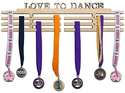 Arena Gifts Wooden Dance Medal Hanger Display - Love to Dance - Medal Holder Rack - Perfect Gift Idea for Dancers - Displays Up to 24 Medals or (Cut Std Hanging)