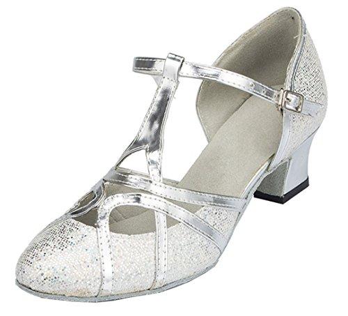 TDA Womens Mid Heel 5cm Glitter Silver PU Leather Salsa Tango Ballroom Latin Party Dance Shoes CM101 8.5 M US