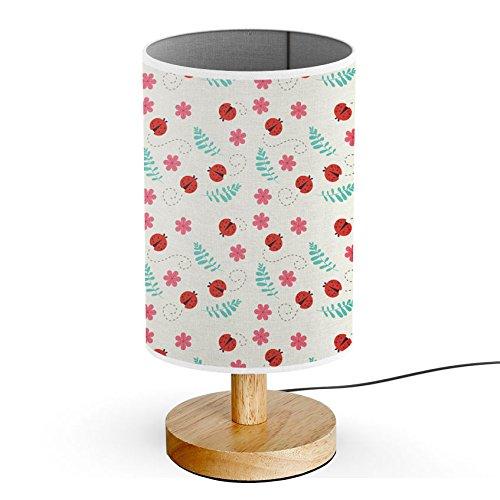 ArtLights - Wood Base Decoration Desk / Table / Bedside Lamp [ Ladybug floral Colorful ]