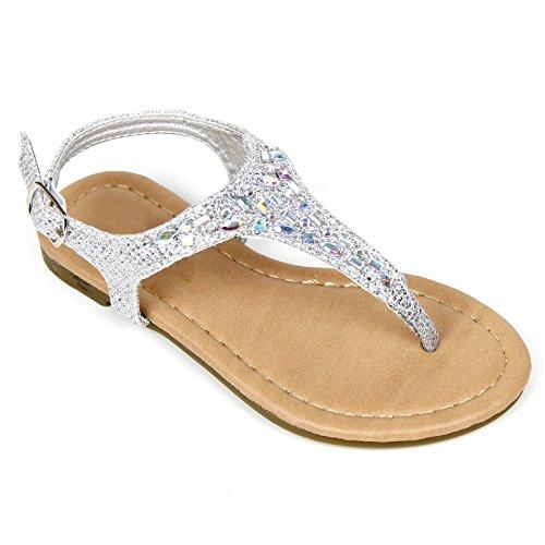 Sparkle Belle Shoes (Girls Kids T Strap Gladiator Strappy Rhinestone Glitter Flip Flops Sandals (12, Silver))
