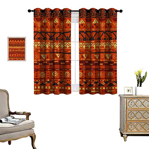 - Warm Family Primitive Patterned Drape for Glass Door Antique African Folkloric Motifs Primitive Tribal Art Ornaments Illustration Waterproof Window Curtain W55 x L39 Orange Yellow
