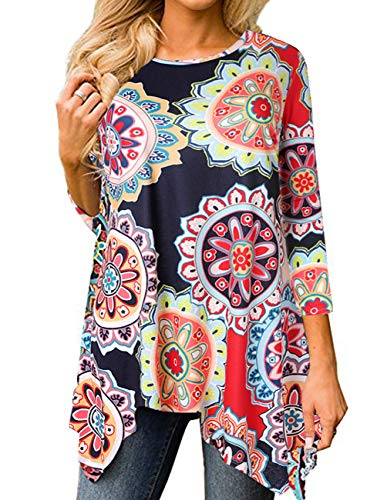 Women Vintage Blouse Flare Print Tops Crew Neck Casual Flare Tunic Loose Blouse Shirt