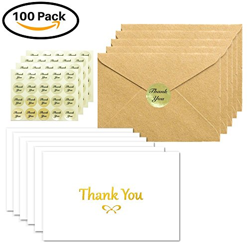 100 Thank You Cards Box Set With Gold Foil Embossed Designs | 4 x 6 Inches, Bulk Blank Note Cards With Envelopes and Gold Stickers | Perfect For Wedding, Bridal Shower, Baby Shower, and Business White