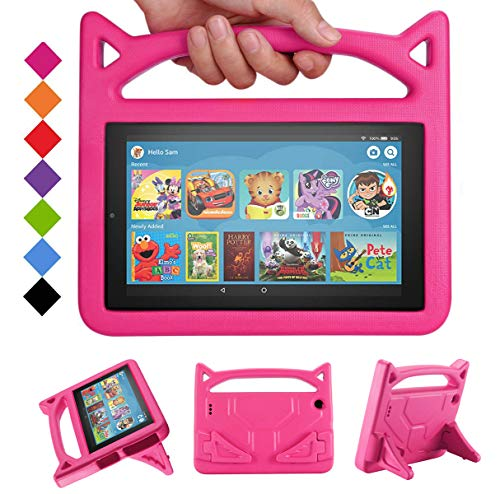 New Fire 7 Tablet Case 2019/2017 -SHREBORN Kids Shock Proof Case Cover with Handle and Stand for Amazon Kindle Fire 7 Inch Tablet (Compatible with 9th/7th/5th Generation, 2019/2017/2015 Release)-Rose (Kindle Case For 7 Inch Tablet)