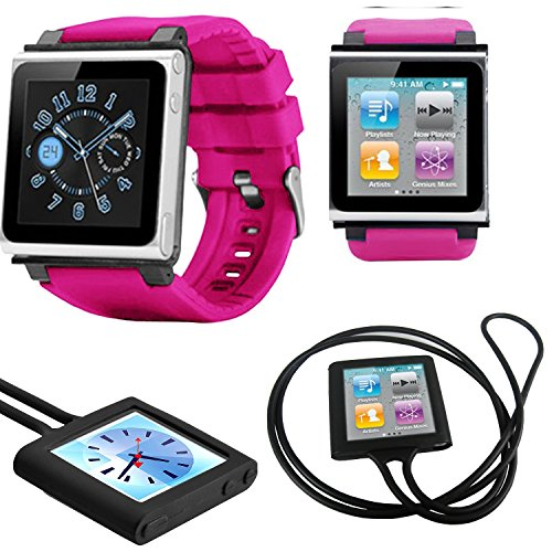 PiGGyB EZ Snap Watch Band Necklace Case Cover For Apple iPod Nano 6 6th Generation (Pink Black)