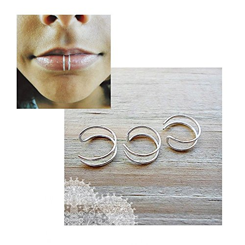 Sterling Silver Ear Cuff Fake Lip Nose Ring Double Hoop - 22 Gauges Wire Fake septum nose ring - Faux lip ring