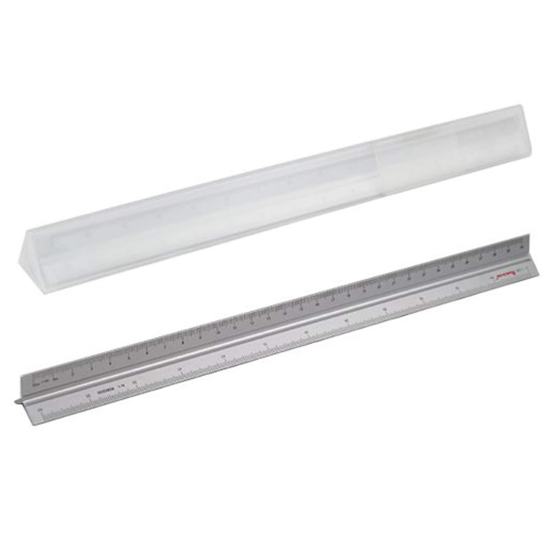 TRIXES Regla Met/álica en Aluminio de Forma Triangular y con Tres Escalas Ideal para Dibujar y Cortar