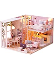 DIY Miniature Loft Dollhouse Kit Realistic Mini 3D Pink Wooden House Room Toy with Furniture LED Lights Christmas Children's Day