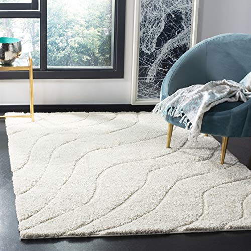 Safavieh Florida Shag Collection SG472-1111 Creme and Creme Area Rug (5'3