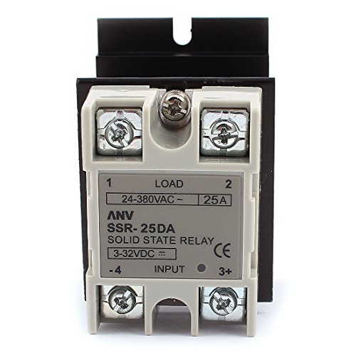 Uxcell a15111100ux0289 SSR-25DA Solid State Relay, DC-AC 25 Amp, 3-32V DC/24-380V AC, Heat Sink by uxcell