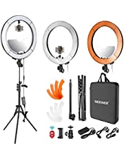 Neewer LED Ring Light 18-inch Outer Diameter with Top/Bottom Dual Hot Shoe, Mirror, Smartphone Holder, Light Stand, Soft Tube, Color Filter for Makeup Facial Beauty Portrait Video Shooting(US/EU Plug)