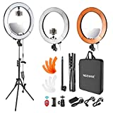 Neewer LED Ring Light 18inch 55W 5500K Outer Diameter with TopBottom Dual Hot Shoe, Mirror, Smartphone Holder, Light Stand, Soft Tube