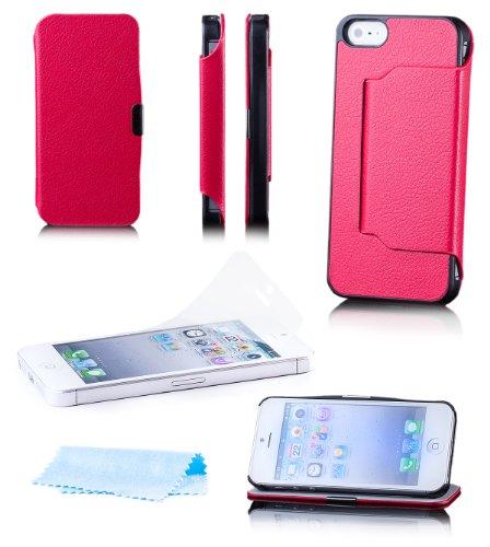 Apple iPhone SE / 5S / 5   iCues Stand Klapp Tasche Rot   [Display Schutzfolie Inklusive] Leder - Imitat Book Klapphülle Schutz Etui Handytasche zum aufklappen Flip Case Schutzhülle Booklet Hülle Wall