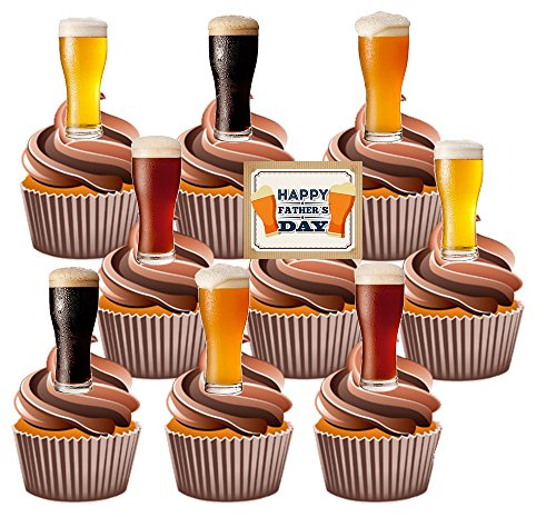 AKGifts Fathers Day Fun Beer - 24 Cup Cake Toppers - Edible Stand Up Decorations (7 - 10 BUSINESS DAYS DELIVERY FROM UK) (Fathers Day Cupcakes)