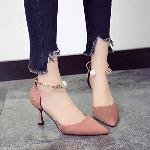Yukun zapatos de tacón alto Zapatos Femeninos Otoño Puntiagudo Zapatos Individuales Zapatos De Mujer Tacones De Aguja Moda Conjuntos Maduros De Pies Zapatos Individuales Femenino, 39, Rosa Pink