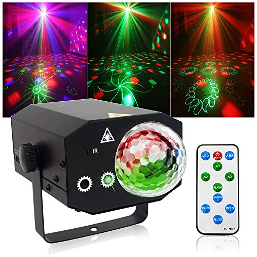 Party Lights + Disco Ball GOOLIGHT Dj Disco Lights LED Stage Light Projector Strobe lights Sound Activated with Remote Control for Xmas Club Bar KTV Holiday Dance Christmas Birthday Home Decoration -