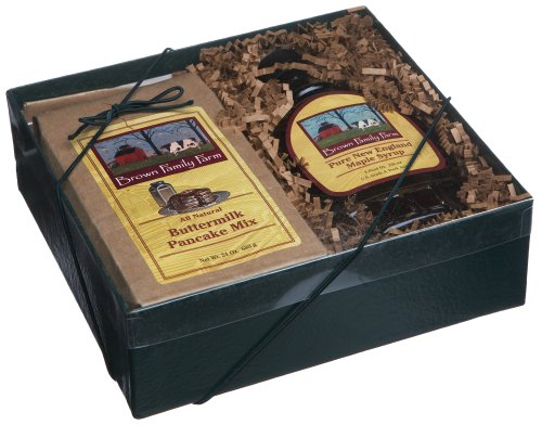 Brown Family Farm Gift Box, 8-Ounce Pure Maple Syrup & 24-Ounce Buttermilk Pancake Mix ()