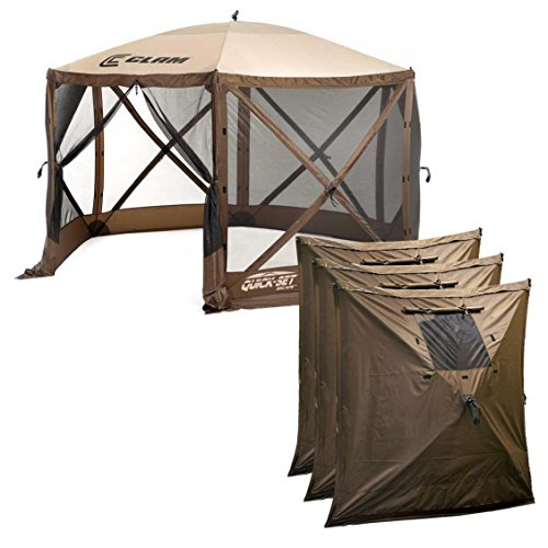 Quick-Set Clam Escape Outdoor Gazebo Canopy + 3 Wind Panels