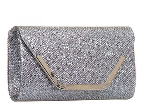 Handbags Bridal LeahWard Women's 831 Clutch Bridal Black Glitter Bag mate's Wedding r8CwqrY