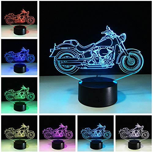 Price comparison product image Circle Circle New Motorcycle Motorbike 3D Optical Illusion Table Lamp 7 Colors Change Touch Button and 15 Keys Remote Control LED Light Decor