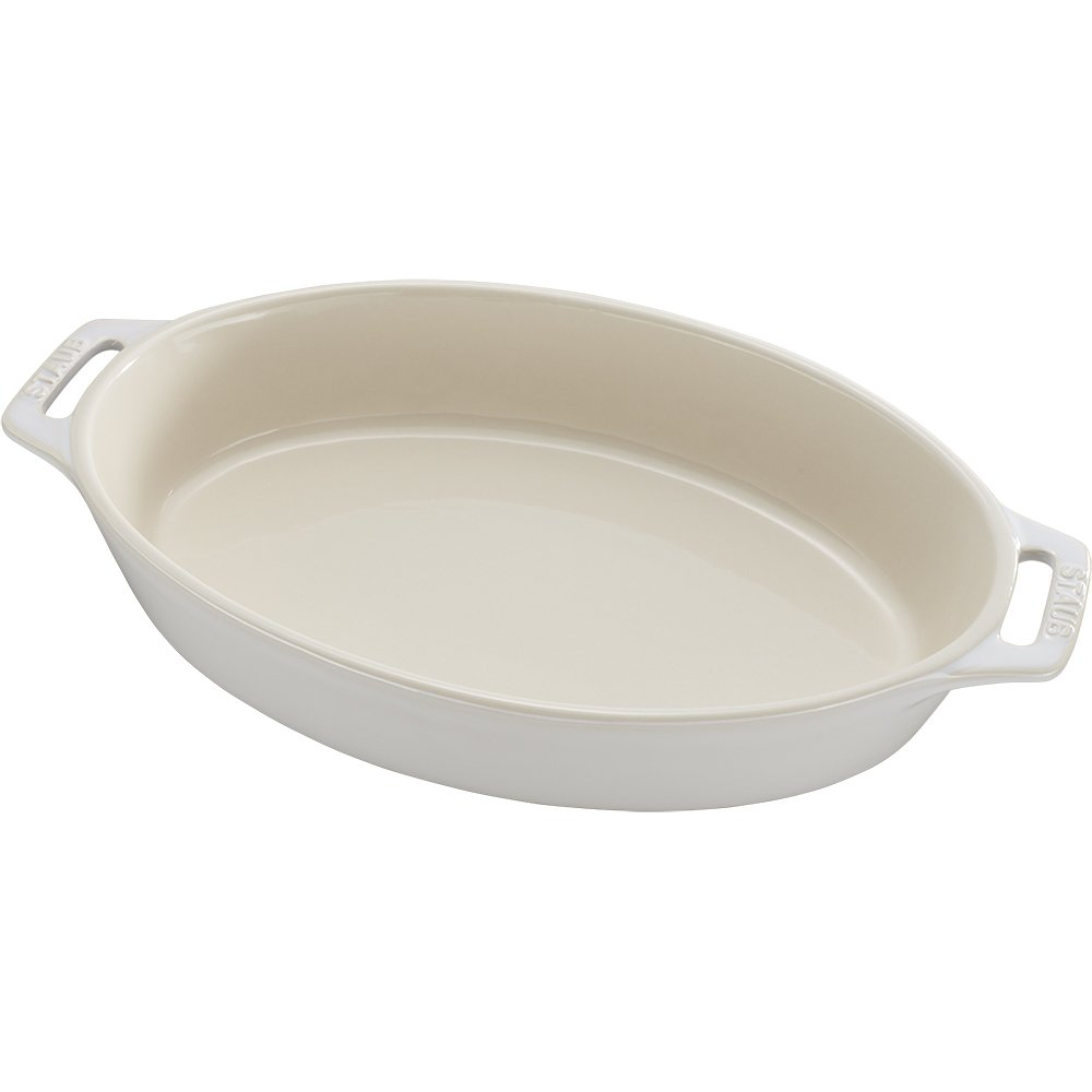 Staub 40511-899 Ceramics Oval Baking Dish, 11-inch, Rustic Ivory