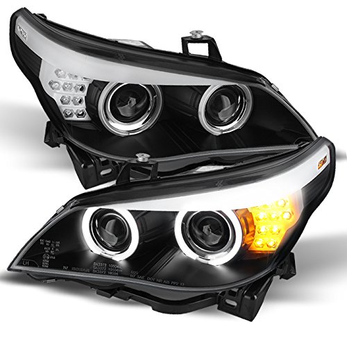 For BMW E60 5 Series Black Bezel Halogen Type Dual CCFL Halo Projector Headlights w/Full LED Turn Signal