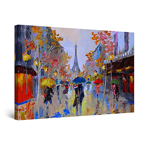 STARTONIGHT Canvas Wall Art Paris Street Eiffel France Colored Painting Large Framed 32 x 48 Inches ()