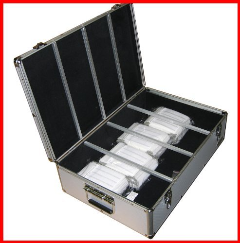 - MegaDisc 1000 Cd DVD Silver Aluminum Hard Case for Media Storage Holder w/Hanger Sleeves