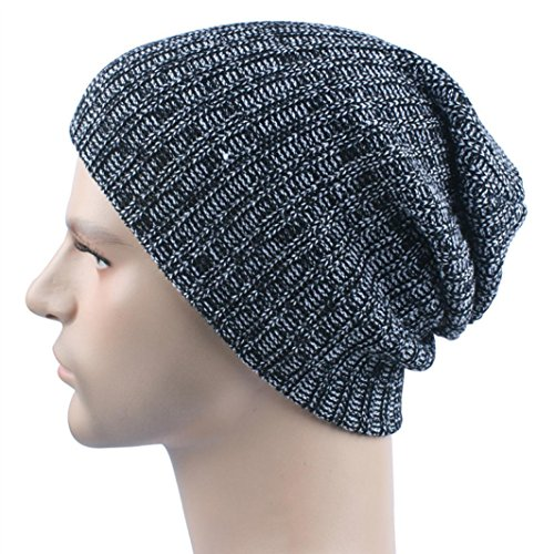 Iuhan Men Women Warm Crochet Winter Wool Knit Ski Beanie Skull Slouchy Caps Hat (Black) - Skull Kid Costume Zelda