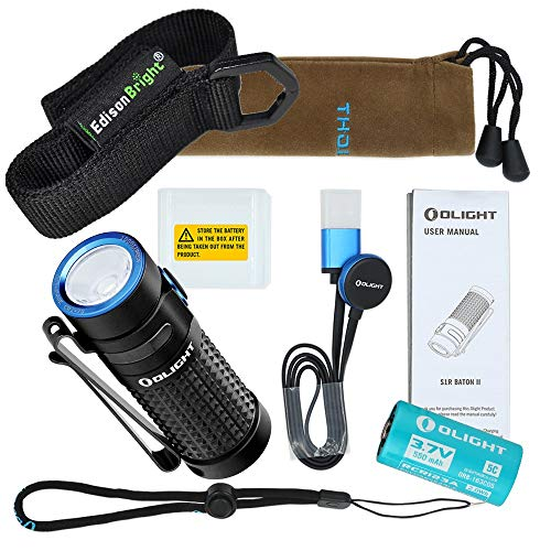 - Olight S1R II USB rechargeable 1000 Lumen CREE LED Flashlight, Rechargeable battery with EdisonBright brand holster bundle