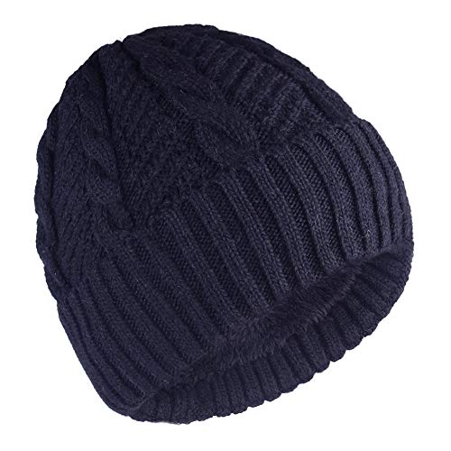 - Camptrace Winter Men Beanie Skull Caps Wool Knit and Cuffed Fleece Lining Hat (Navy, One Size)