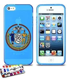 Carcasa Flexible Ultra-Slim APPLE IPHONE 5 de exclusivo motivo [Escudo New York] [Azul] de MUZZANO  + ESTILETE y PAÑO MUZZANO REGALADOS - La Protección Antigolpes ULTIMA, ELEGANTE Y DURADERA para su APPLE IPHONE 5