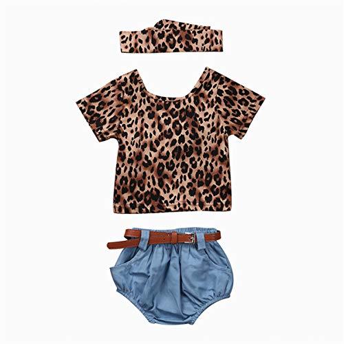 (4PCS Brand New Fashion Baby Girls Clothing Set Summer Backless Leopard T-Shirt Tops+Denim Pants Bloomers Headband Bebek Giyim Complete Moon Gift)