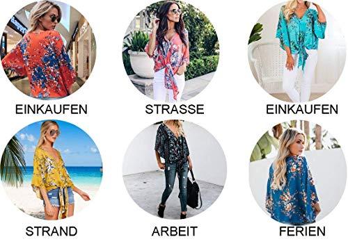 Vintage Chic Fleur Chemisiers Cou Tops Mode 4 Haut Elgante Nou Chemise 6 Et Bouffant Femme Manches 3 V Shirts Motif Printemps Loisir qvww5fC