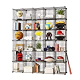 KOUSI Storage Cubes Wire Grid Modular Metal Cubbies Organizer Bookcases and Book Shelves Origami Multifunction Shelving Unit, Capacious Customizable (Black, 30 Cubes)