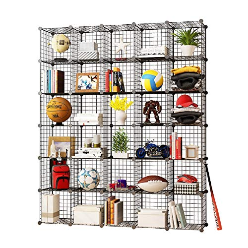 KOUSI Storage Cubes Wire Grid Modular Metal Cubbies Organizer Bookcases and Book Shelves Origami Multifunction Shelving Unit, Capacious Customizable (Black, 30 ()