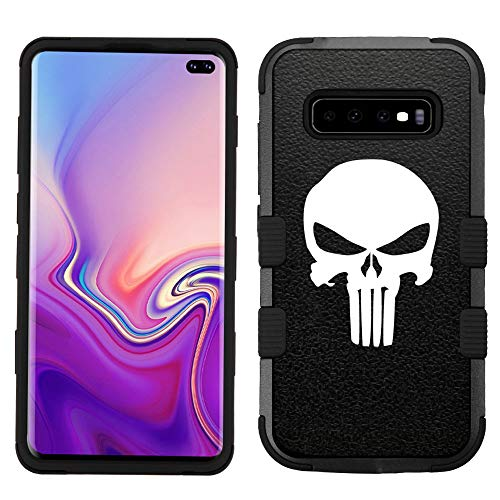 for Galaxy S10 Plus/S10+, Hard+Rubber Dual Layer Hybrid Heavy-Duty Rugged Impact Cover Case - Punisher ()