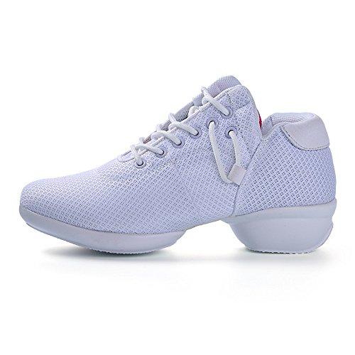 Yuanli Frauen Mesh Ballroom Tanzschuhe Leichte Jazz Schuhe Weiß888